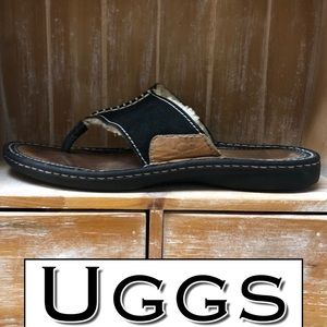 UGG  Flop Leather Sandal Black 9